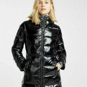 Michael Kors Patent Shiny Midi Quilt Puffer Coat S
